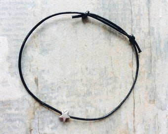 Black leather and silver star Friendship Anklet