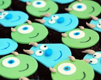 12 Fondant edible cupcake toppers - Monsters Inc.