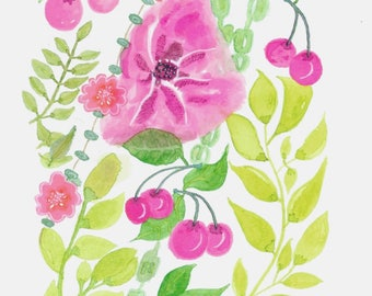 Watercolor Flowers and Foliages