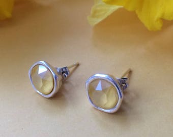 Antique silver studs with Buttercup Yellow Swarovski crystal