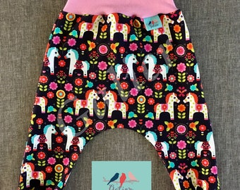"Pantacool long baby Hoody ""horses and flowers"""