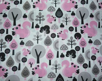 Pink fabric C217 squirrels and trees grey coupon 50x50cm