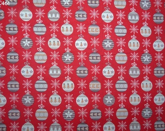 Fabric Christmas tree on red coupon 34x50cm C461 balls