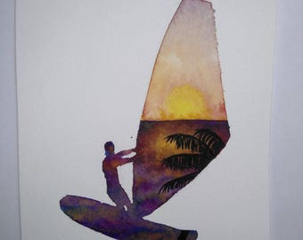 Watercolor: Windsurfing Silhouette and sunset