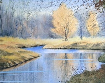 Landscape watercolour, watercolour painting, river paintings, english countryside, british countryside, reflections, autumn, trees,  peace