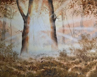Original watercolour, woodland scene, woodland trees, landscape watercolour, sunburst, evening light, autumn, autumn colours, woodland.