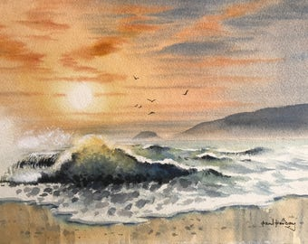 Sunset sea, seascapes, waves, sunsets, beach scene,  watercolour seascape, original watercolours, watercolour paintings, original paintings.