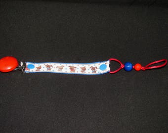 Pacifier clip small dogs, teething beads, oriented boy