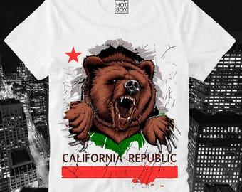 T Shirt HOTBOX California Republic Bear Cali Trippy Swag Dope Hipster Gangsta Flag Santa Cruz