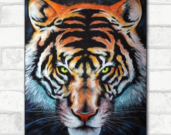 With the original Tiger painting acrylic on canvas 61 x 50 cm wild animals
