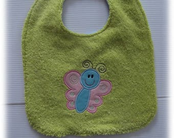 GIRL BUTTERFLY COTTON AND TERRY BIB