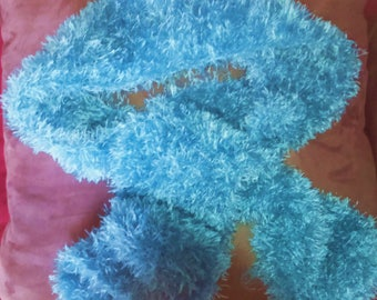 turquoise effect adult wool fur scarf