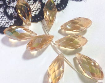 2 beads drops Swarovski Crystal 16 x 8 mm champagne colored (D47) pendant