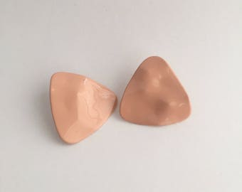 Blush Pink Vintage Triangle Earrings