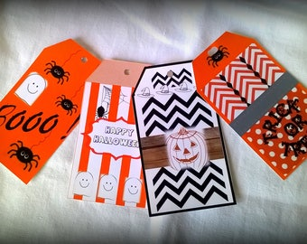 4 large labels Halloween to decorate the party!