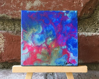 Mini fluid acrylic painting- Original blue green and pink abstract fluid art painting with pink detail