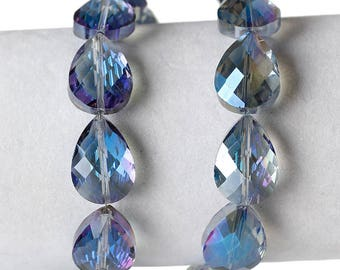 Set of 2 glass beads in faceted form drop blue 18 x 13mm