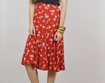 90s high waisted red floral midi skirt roter Blumenrock Boho bohemian grunge