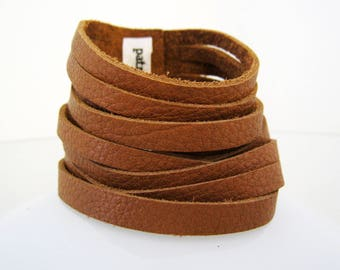 Bracelet multi-row TAGLIATELLE Tan - caramel brown leather