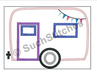 Applique Camper Digital Embroidery Design