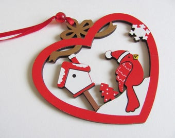 Painted wood Christmas ornament scalloped heart red and little bird to decorate