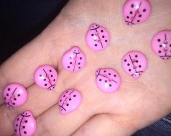 12 set of light pink ladybird buttons