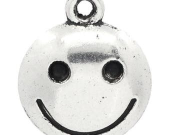 4 silver smile face charms
