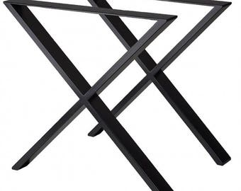 X Cross Steel Table Legs Set of 2