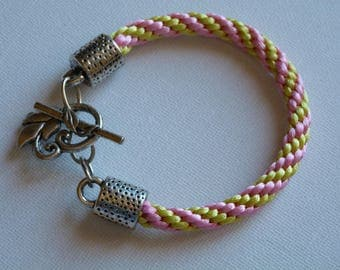 BRACELET PINK KUMIHIMO BRAID AND APPLE GREEN