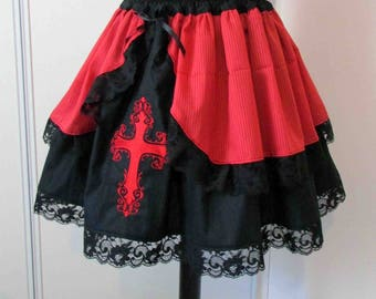 Embroidered skirt black and Red Cross