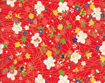 Japanese paper 42 x 29 cm red Chiyogami gold traditional pattern and flowers
