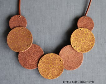 Pretty Brown and gold polymer clay necklace