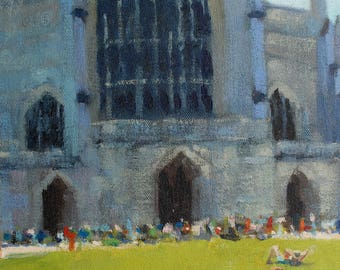 "Winchester Cathedral. Original Painting. 9""x12"""