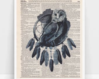 Dictionary Art Print - Dream catcher Owl - Printed on vintage Webster's Dictionary pages.