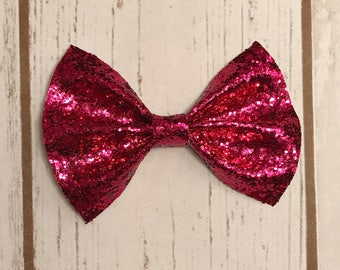 Holy Hot Pink Chunky Glitter Bow