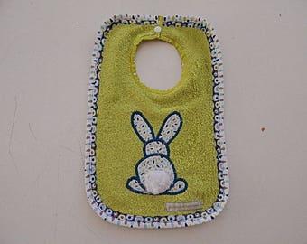 Green bib embroidered lime rabbit Terry organic cotton