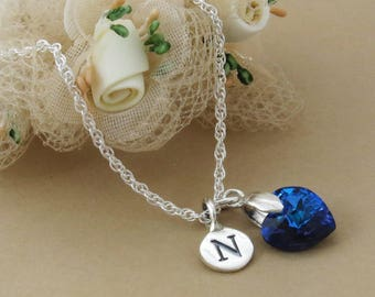 Sapphire Blue Crystal Heart and Initial Pendant, Swarovski Crystal Heart Necklace, Personalized Silver Initial Necklace, September Jewelry