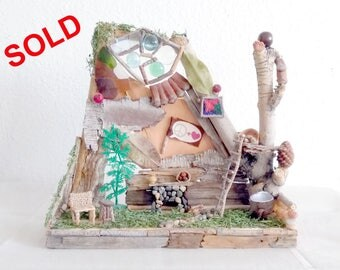 Fairy House Interior Of Twigs, Stones, Berries, Crystals, Miniature Furnishings And More