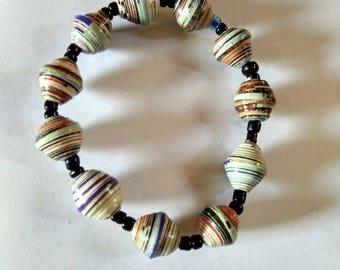 Handmade recycled paper bead elastic bracelet