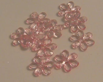 beads plastic flowers pink 21mm x 10 (l334)