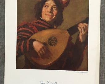 Frans Hats. The Lute player. Colour plate. 1920's antique print