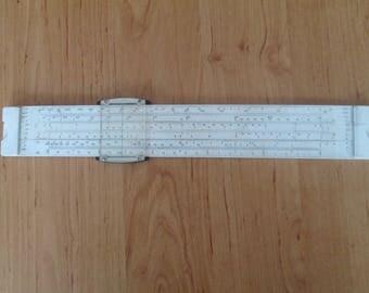 Vintage logarithmic ruler,  Logarithmic slide rule - Darmstadt,Аnalog calculator,Vintage Slide Rule REISS Darmstadt 3214,Мathematical scale