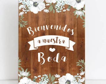 Wood poster for wedding flowers
