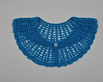 col Claudine crocheté en coton  mercerisé bleu indigo