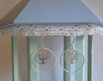 Earrings silver circle and tree of life