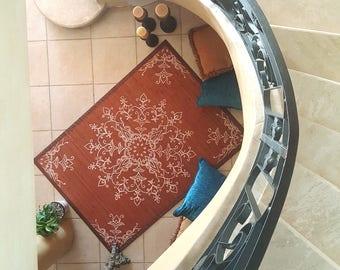 Bamboo Rug, Mandala rug, bedroom rug, living room rug, rug, singles, hand painted, decorative art, wall art, pictures