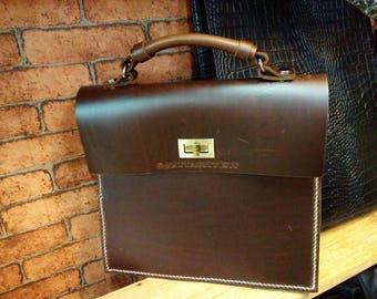 Hand Made Leather Handbag Satchel Tan Portfolio Messenger Real Leather Saddle Bag