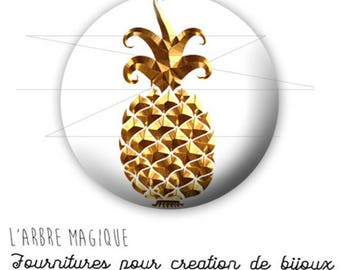 Cabochon 25 mm pineapple fruit fantasy exotic ref 1752