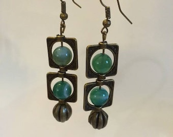 Bronze earrings with green agate stones