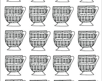 Stripey Teacups Pattern Colouring Page